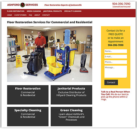 Ashford Services Company's partial homepage design, experts in floor restoration