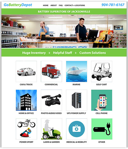 Battery Depot's battery superstore in Jacksonville, FL homepage design