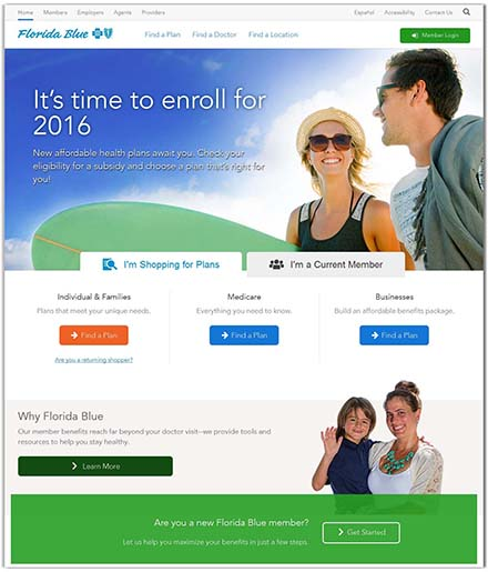 Florida Blue's partial homepage design, an enterprise-sized company
