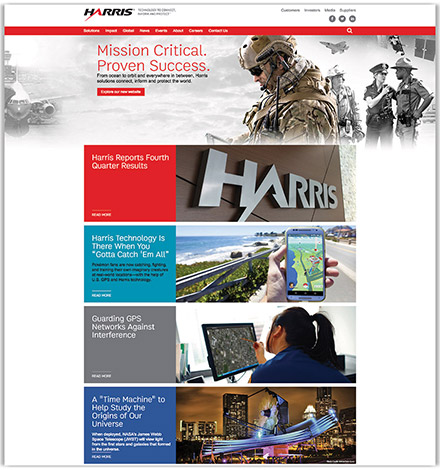 Harris Company's partial homepage design, a global communications systems provider