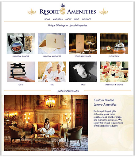Resort Amenities's partial homepage design, a distributor of custom printed luxury hotel amenities
