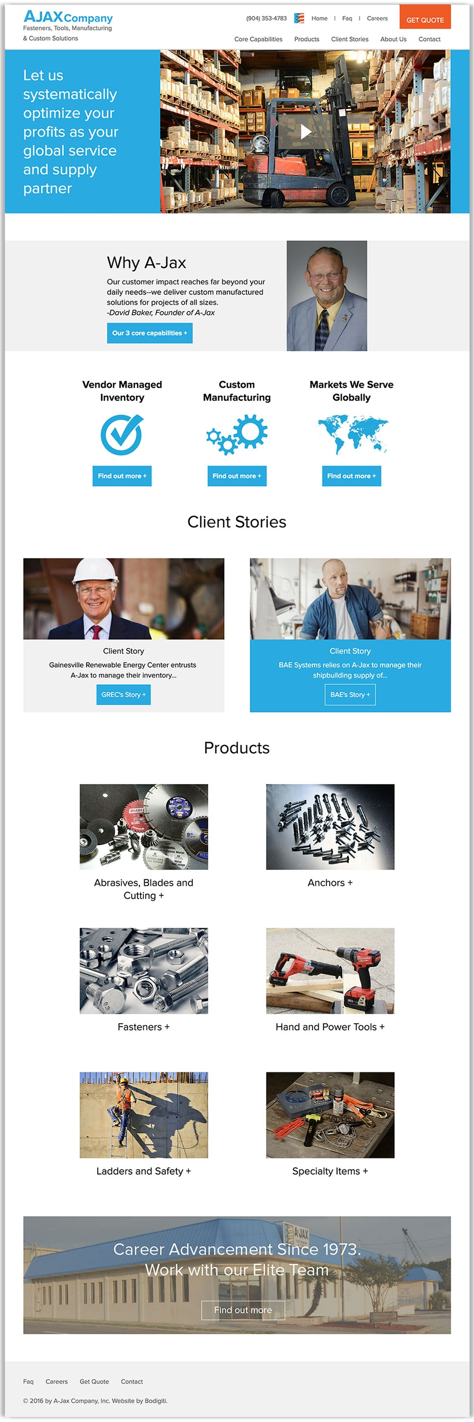 Ajax Company's full homepage design, a manufacturer of fasteners, tools, and equipment