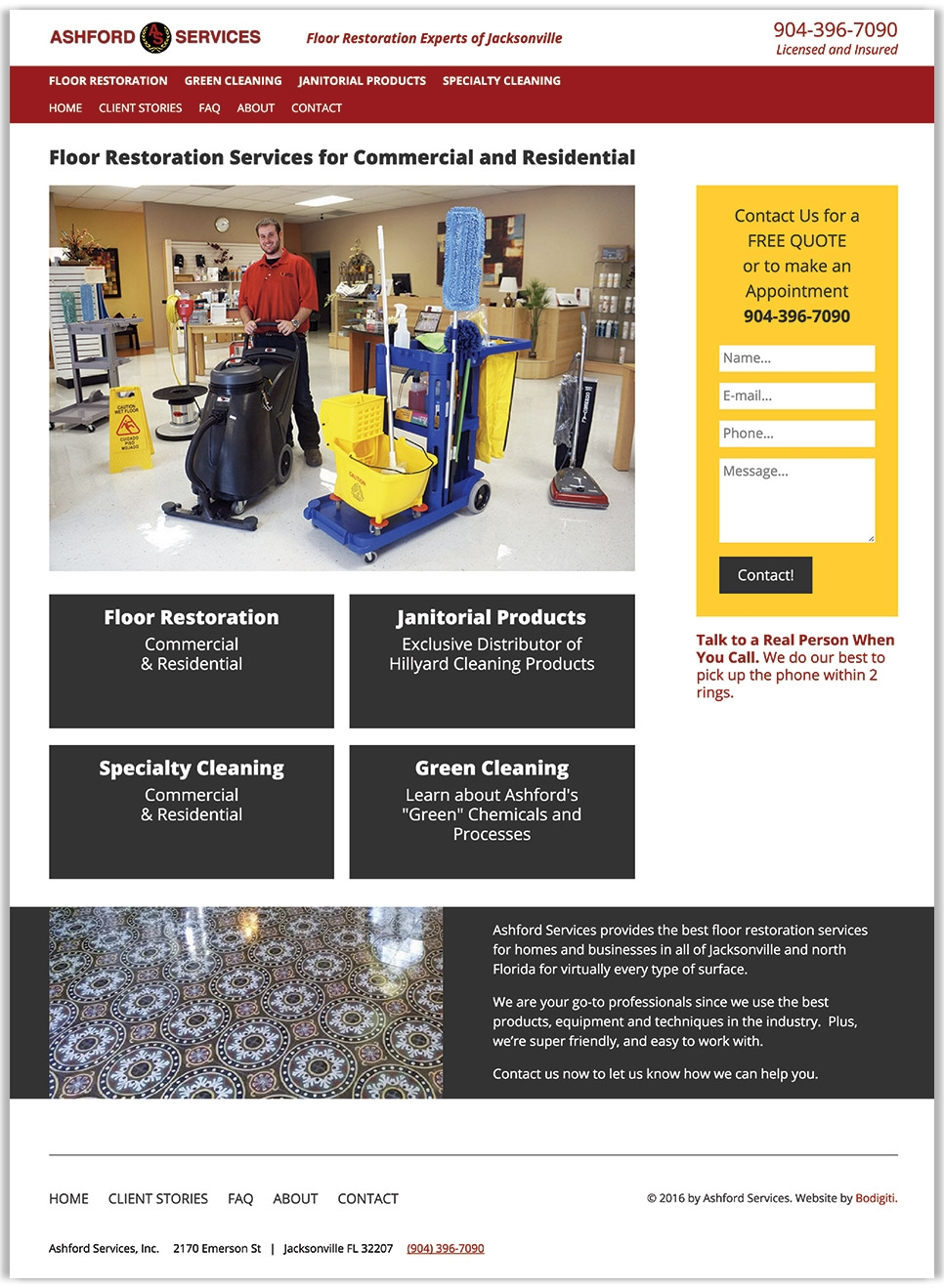 Ashford Services Company's full homepage design, experts in floor restoration