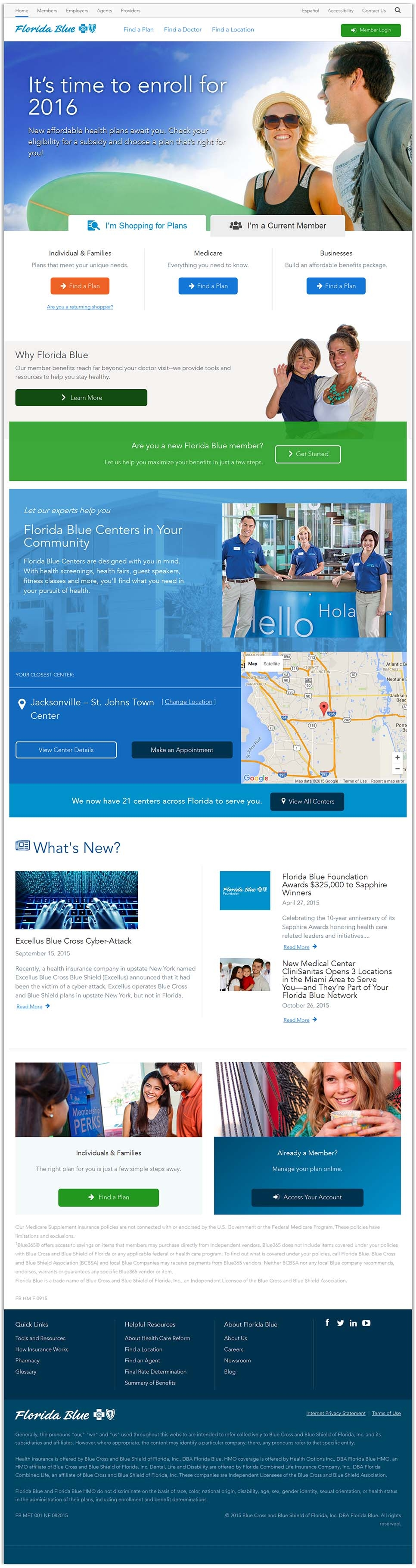 Florida Blue's full homepage design, an enterprise-sized company