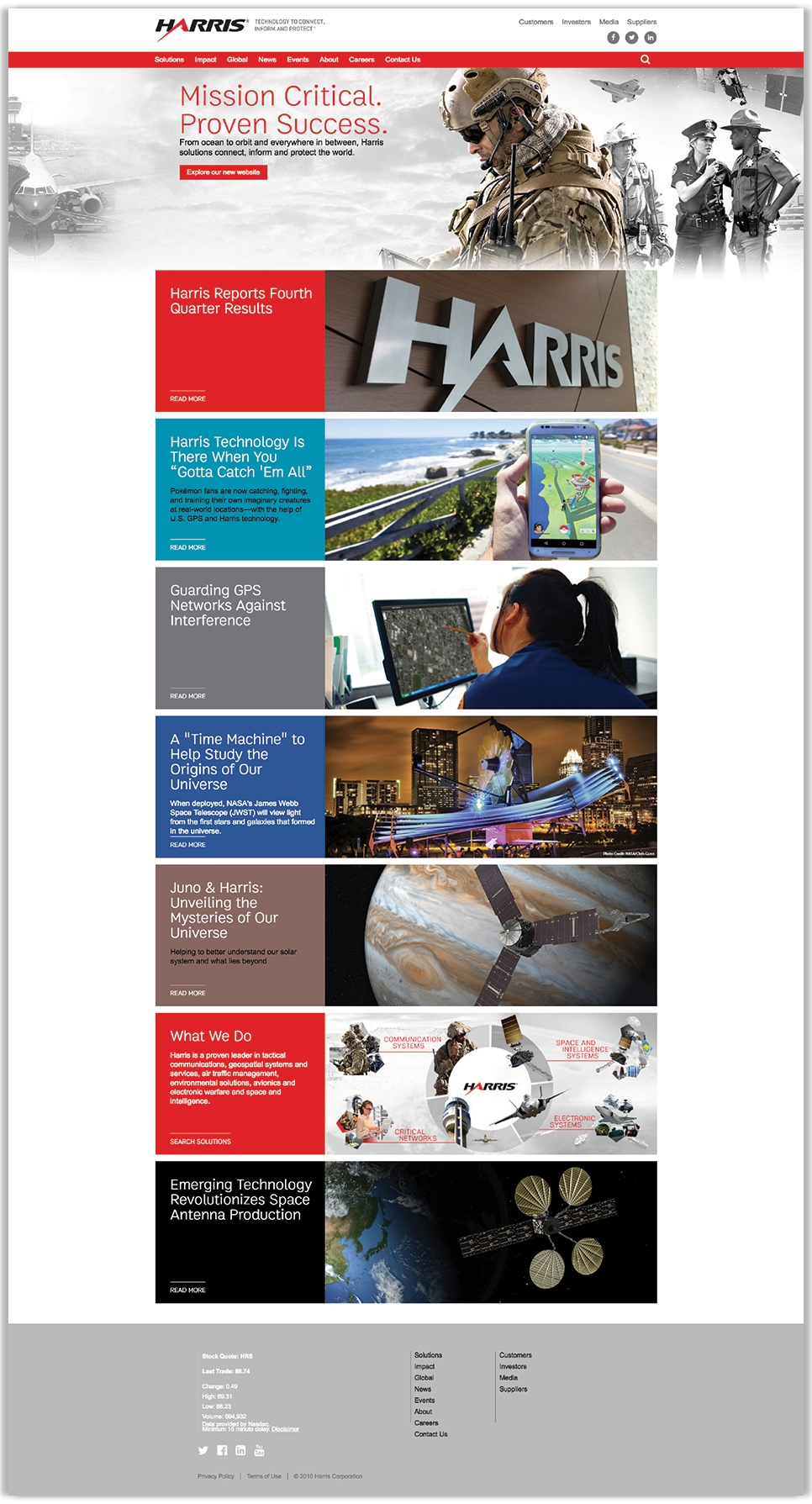 Harris Company's full homepage design, a global communications systems provider