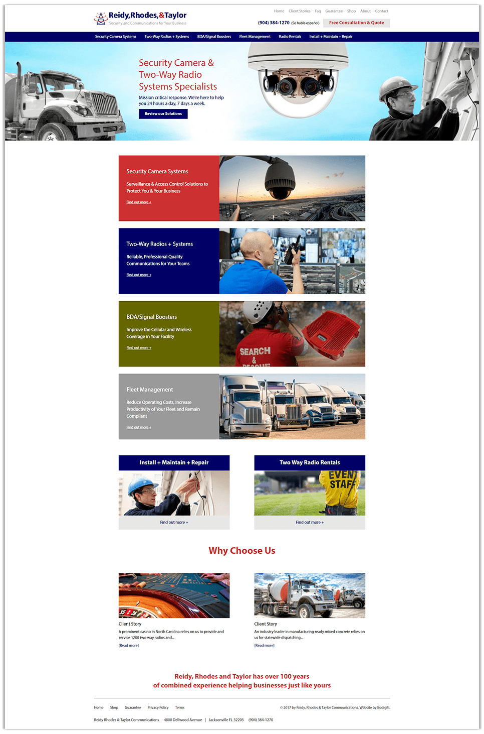 RR&T's full homepage design, specialists in security camera systems and two way radio communications