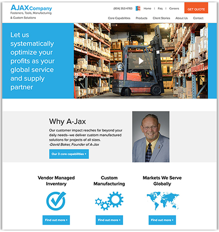 Ajax Company's partial homepage design, a manufacturer of fasteners, tools, and equipment