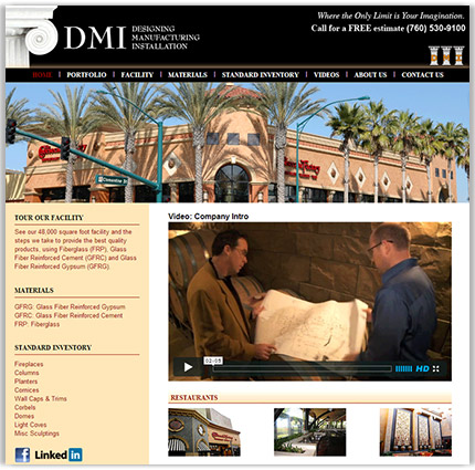 DMI Company's partial homepage design, a high end and specialized construction company