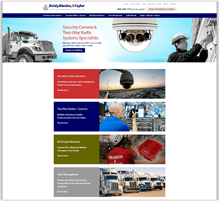 RR&T's partial homepage design, specialists in security camera systems and two way radio communications