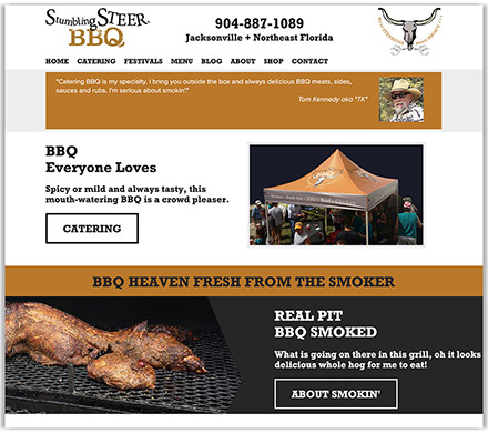 Stumbling Steer's partial homepage design, a bbq caterer