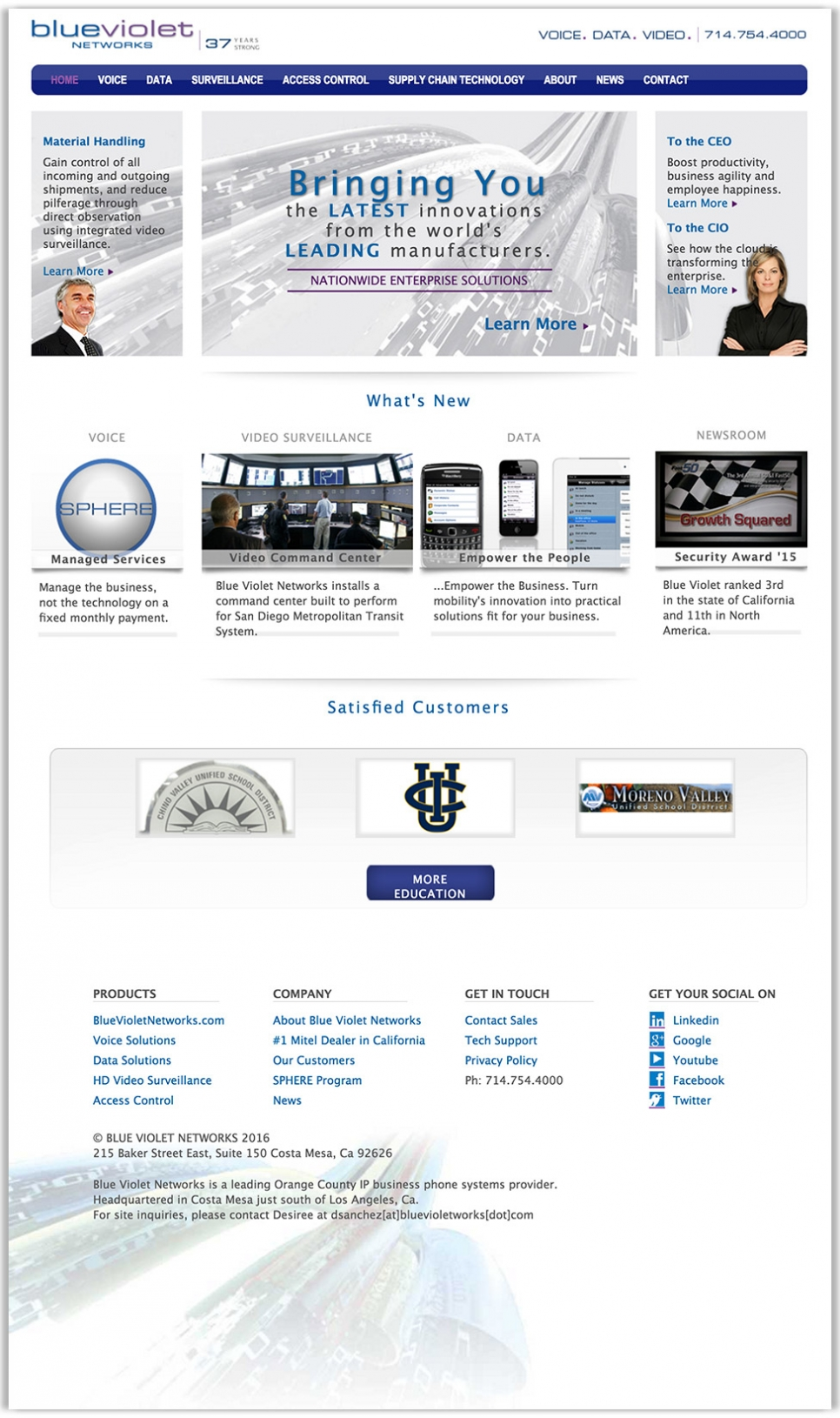 Blue Violet Network's full homepage design, a technology company