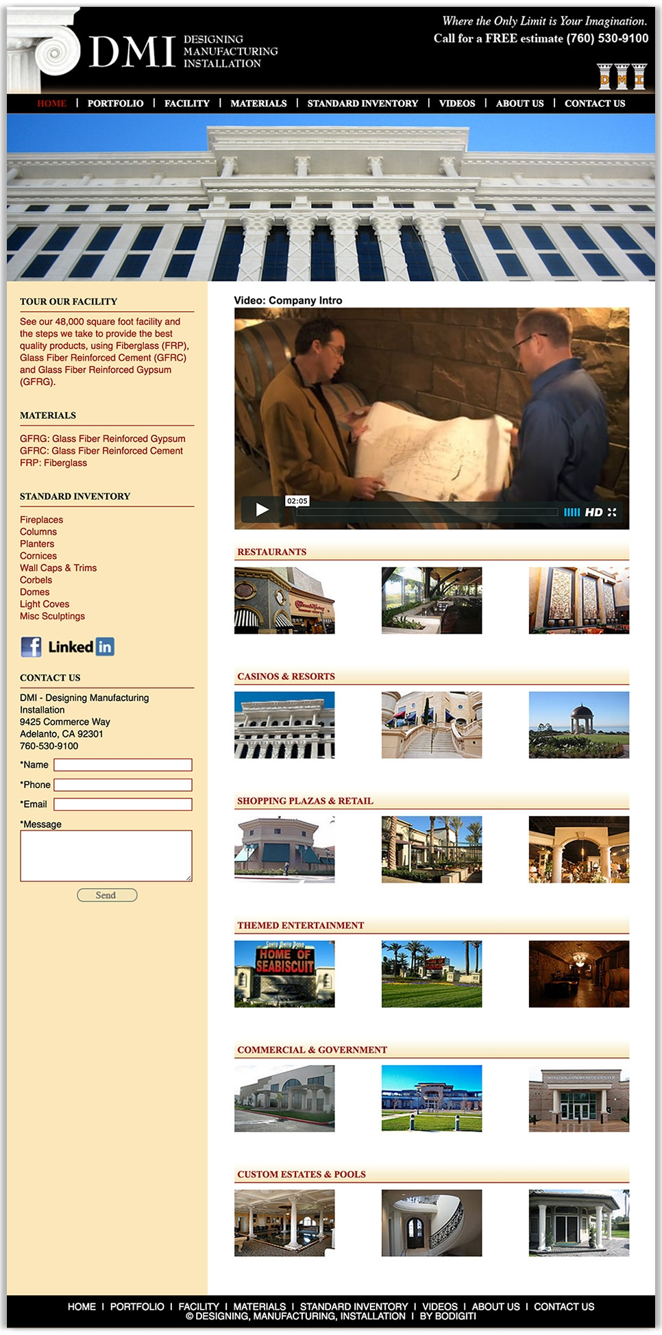 DMI Company's fulll homepage design, a high end and specialized construction company