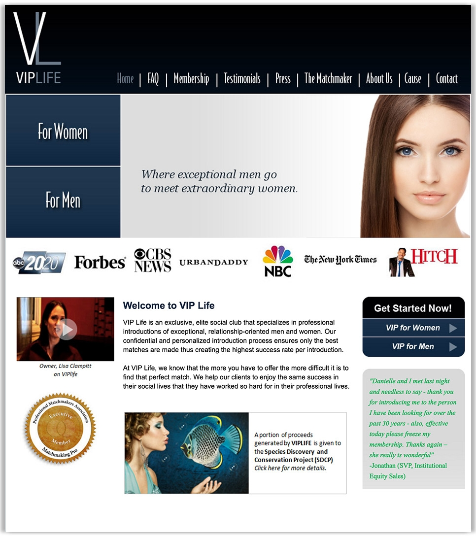 Club VIP Life homepage website design - a high end relationship matchmaker