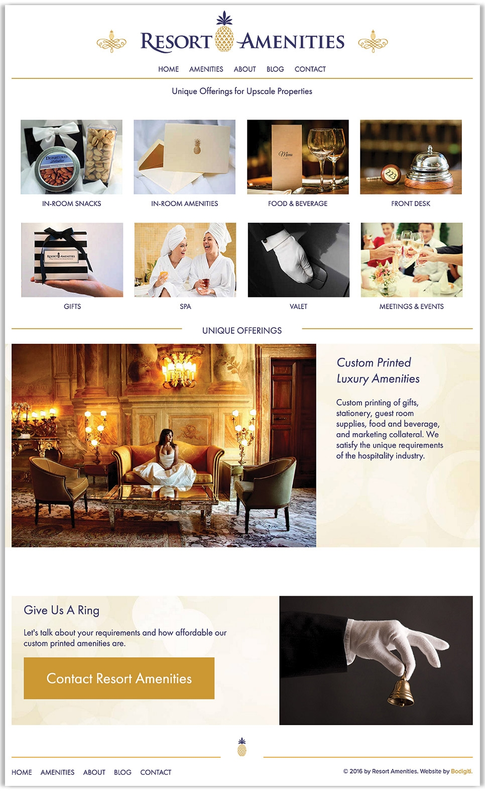 Resort Amenities's full homepage design, a distributor of custom printed luxury hotel amenities